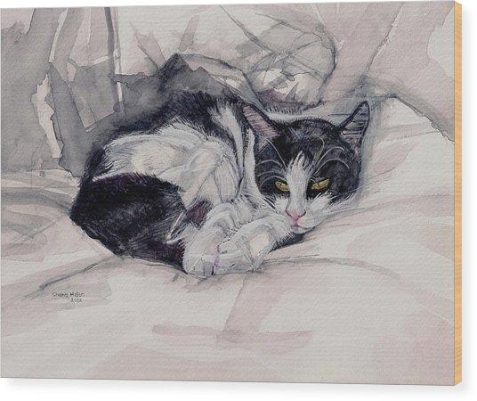 Twinkle The Cat Wood Print by Chana Helen Rosenberg