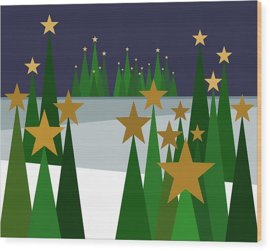 Twinkling Forest Wood Print