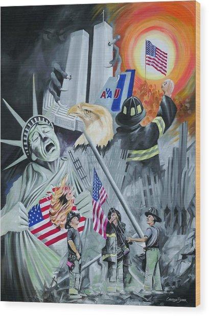 Twin Towers 911 New York Wood Print by Christiaan Bekker