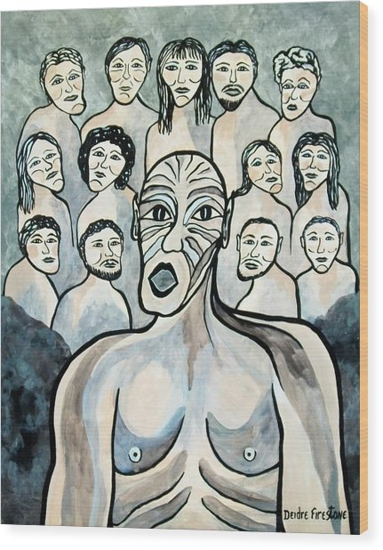 Twisted Faces Of The Torn And Demented Wood Print by Deidre Firestone