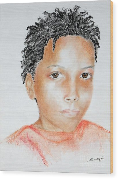 Twists, At 9 -- Portrait Of African-american Boy Wood Print