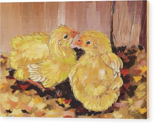 Two Baby Cornish Chicks Wood Print