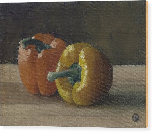 Two Bell Peppers Wood Print