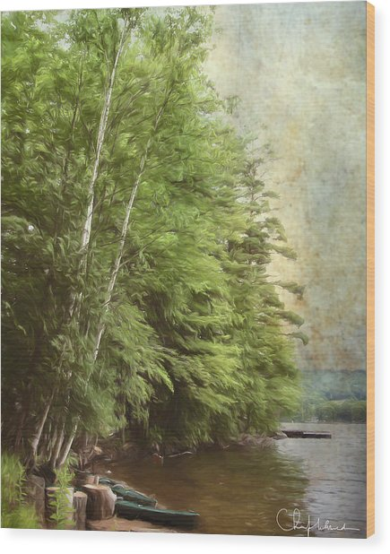 Two Birches Wood Print