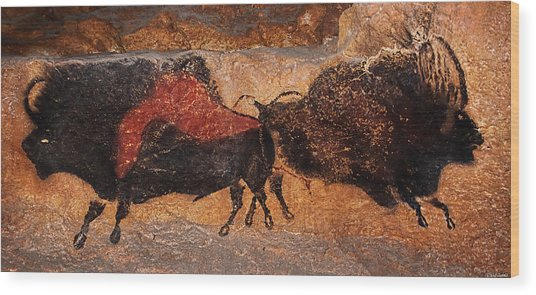 Two Bisons Running Wood Print