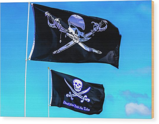 Two Black Pirate Flags Wood Print