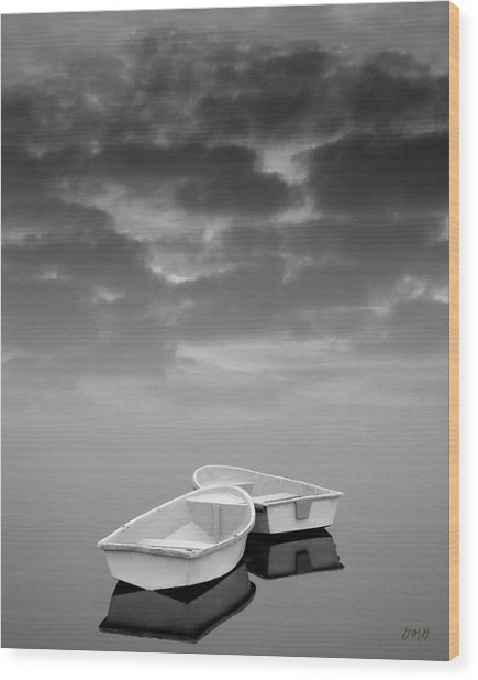 Two Boats And Clouds Wood Print