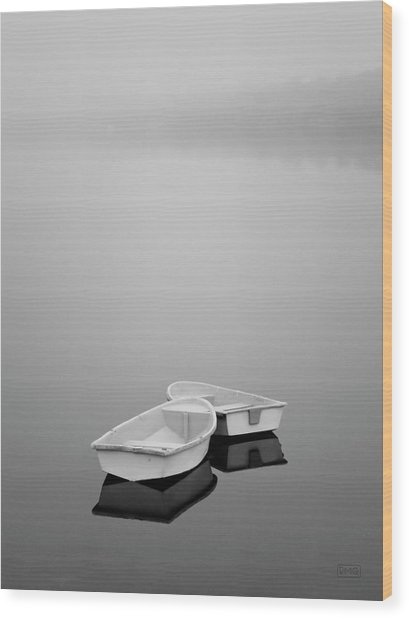 Two Boats And Fog Wood Print