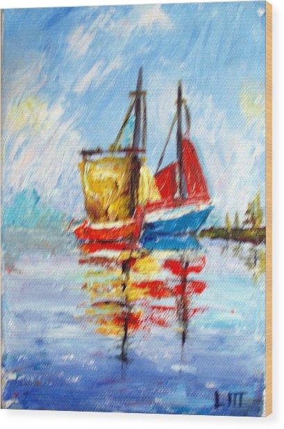 Two Boats Wood Print by Lia  Marsman