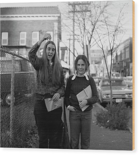 Two Brown Students, Thayer Street, Providence, 1972 Wood Print