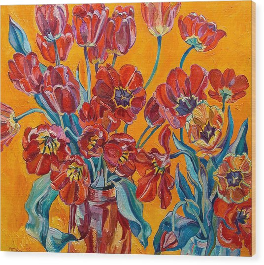 Two Bunches Of Red Tulips Wood Print by Vitali Komarov