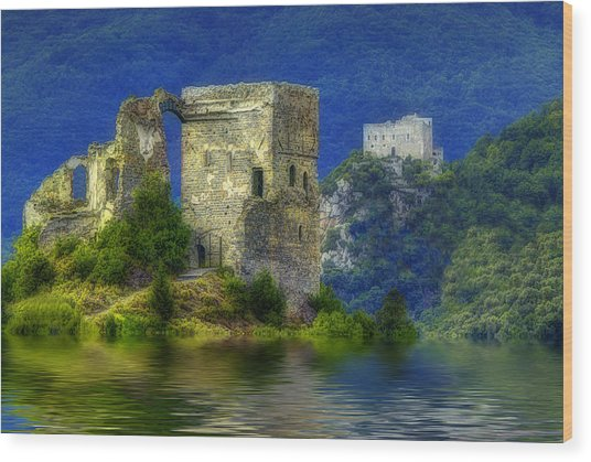 Wood Print featuring the photograph Two Castles On The Lake by Enrico Pelos