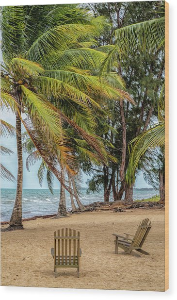 Two Chairs In Belize Wood Print