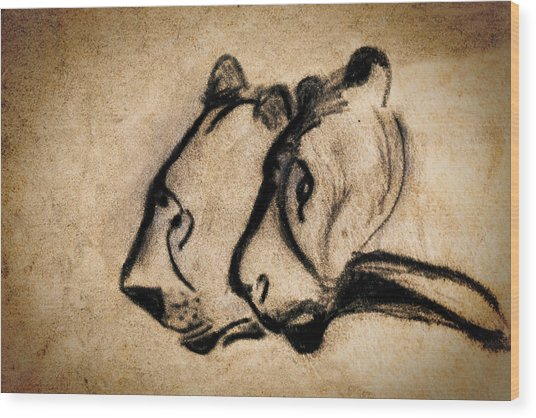 Two Chauvet Cave Lions Wood Print