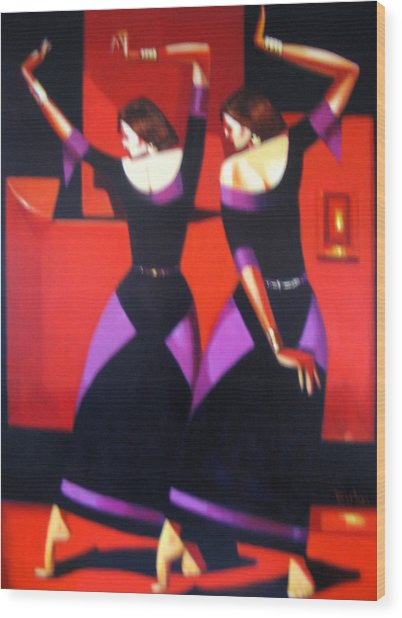 Two Dancers With Candlelight Wood Print by Ihab Bishai