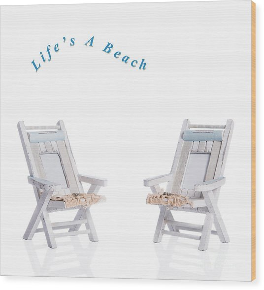 Two Deck Chairs Wood Print