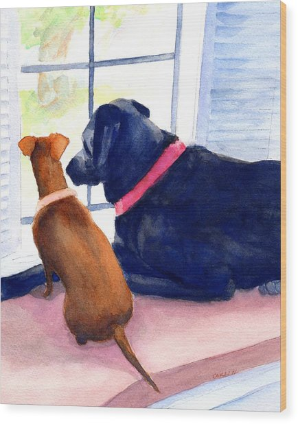 Two Dogs Looking Out A Window Wood Print