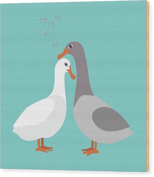 Two Ducks In Love Wood Print