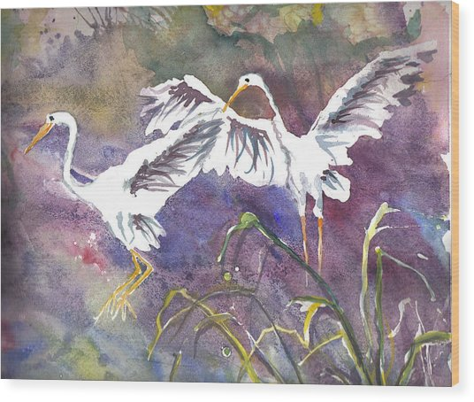 Two Egrets Wood Print
