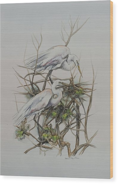 Two Egrets In A Tree Wood Print