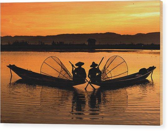 Two Fisherman At Sunset Wood Print