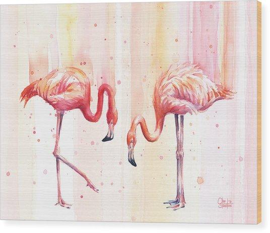 Two Flamingos Watercolor Wood Print