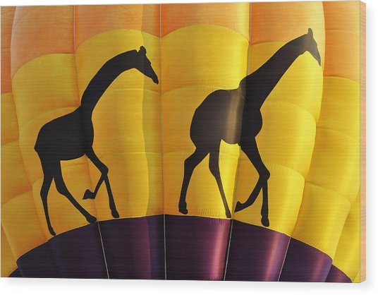 Two Giraffes Riding On A Hot Air Balloon Wood Print