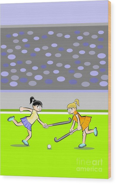 Two Girls Struggle To Get The Ball In A Field Hockey Game Wood Print