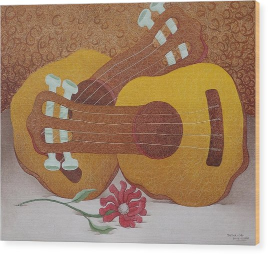 Two Guitars Wood Print by S A C H A -  Circulism Technique
