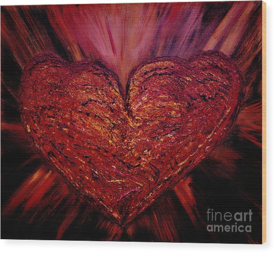 Two Hearts Become One Heart Wood Print
