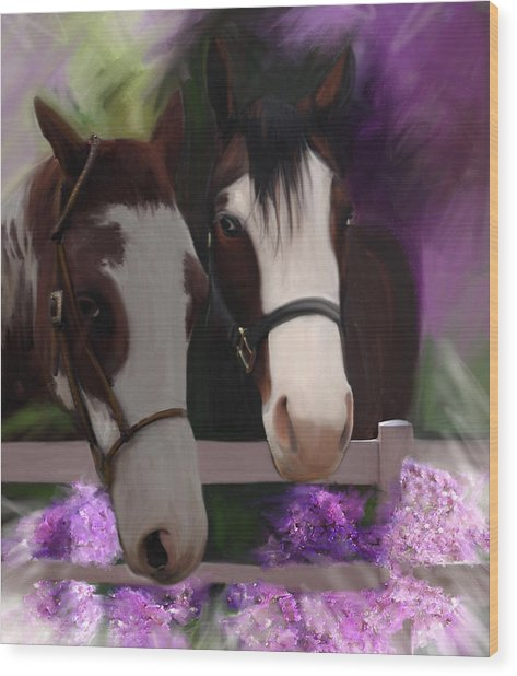 Two Horses And Purple Flowers Wood Print