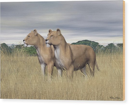 Two Hunters Wood Print