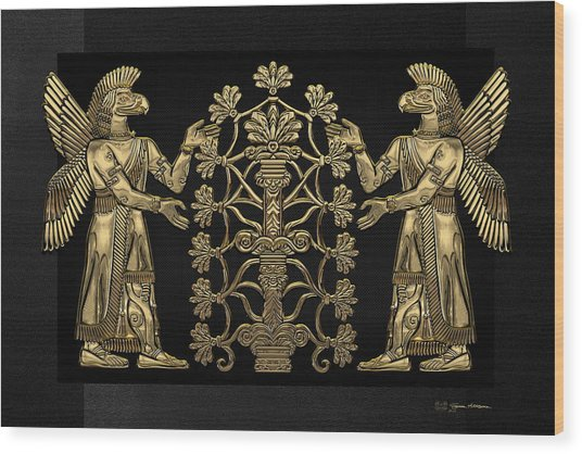 Two Instances Of Gold God Ninurta With Tree Of Life Over Black Canvas Wood Print