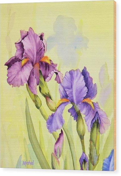 Two Irises  Wood Print