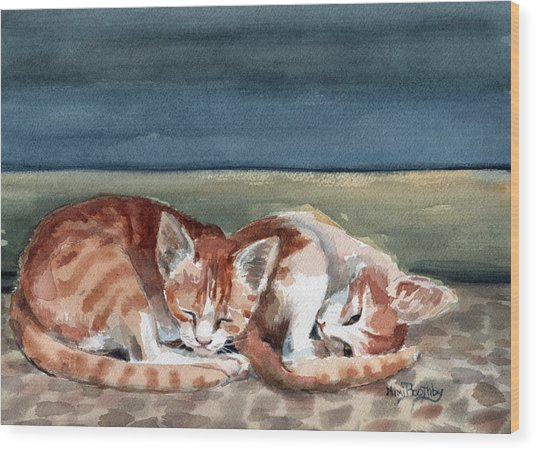 Two Kittens Wood Print