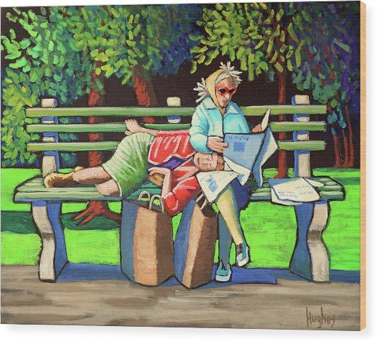 Two Ladies On Bench Wood Print