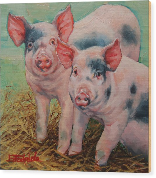 Two Little Pigs  Wood Print