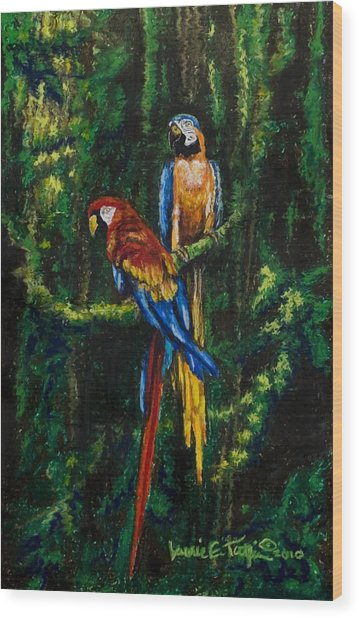 Two Macaws In The Rain Forest Wood Print