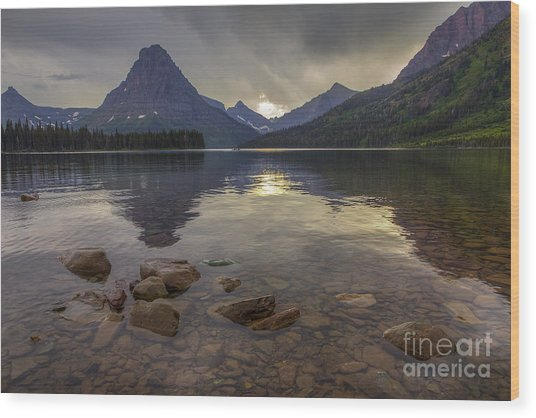 Two Medicine Lake And Sinopah Mountain Wood Print