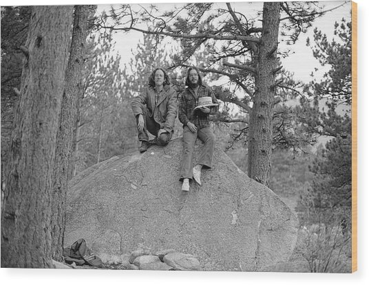 Two Men On A Boulder In The American West, 1972 Wood Print