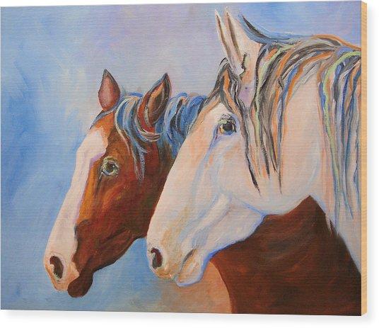 Two Mustangs Wood Print