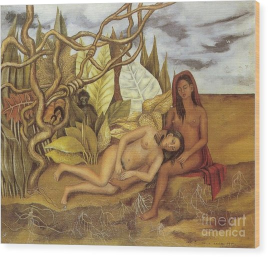 Two Nudes In The Forest Wood Print