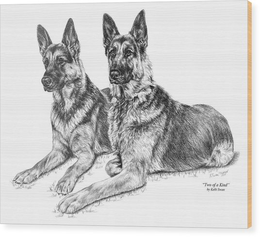Two Of A Kind - German Shepherd Dogs Print Wood Print