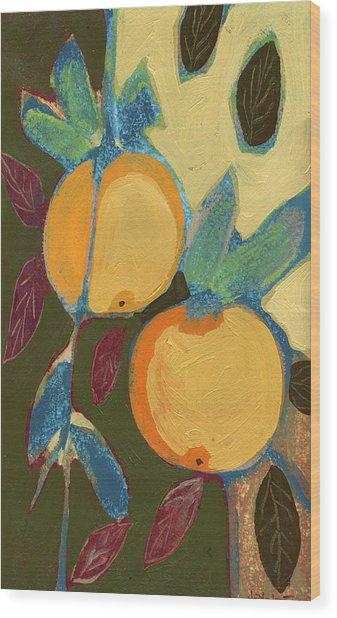 Two Oranges Wood Print