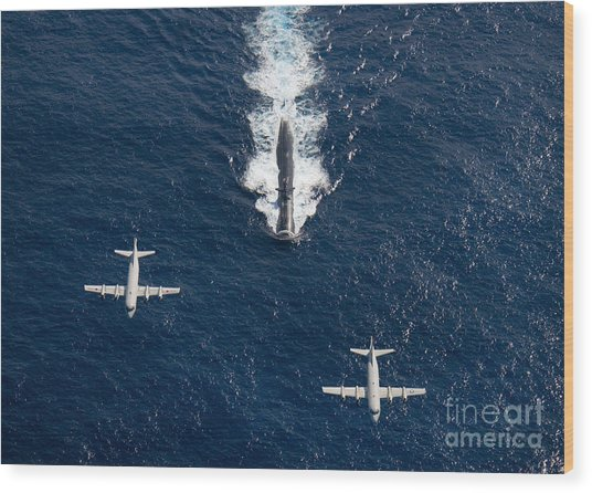 Wood Print featuring the photograph Two P-3 Orion Maritime Surveillance by Stocktrek Images