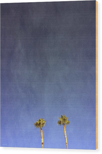 Two Palm Trees- Art By Linda Woods Wood Print