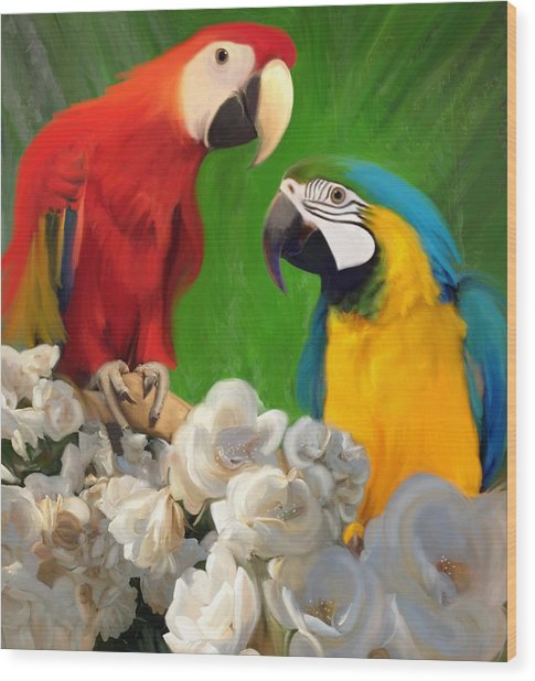 Two Parrots And White Roses Wood Print
