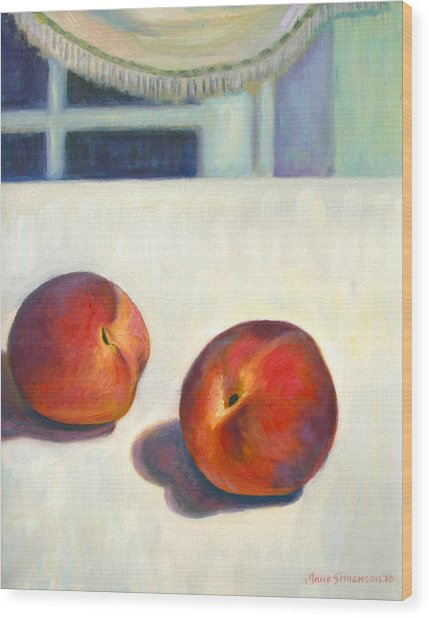 Two Peaches At Night Wood Print by Jane  Simonson