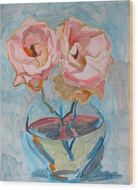 Two Pink Roses Wood Print by Vitali Komarov