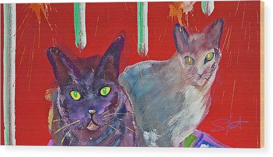 Two Posh Cats Wood Print